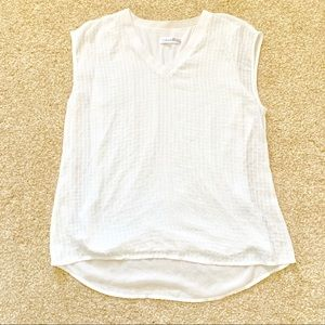 Calvin Klein Women Large White Sequin v-Neck Top